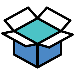 Image icon of an open box designed dropbox style